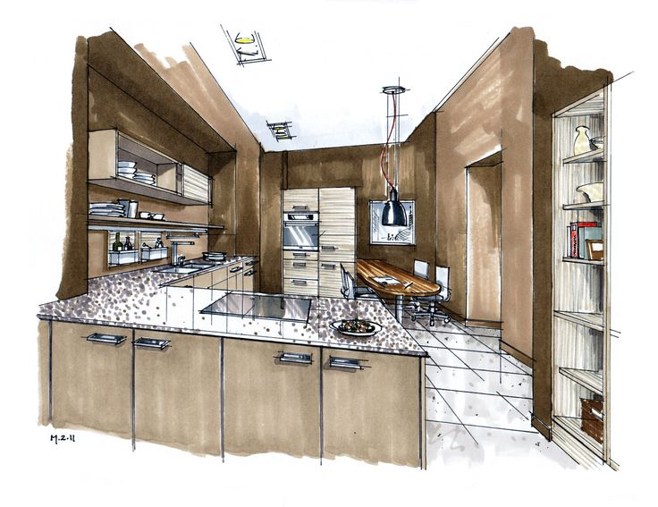 Interior Design Sketches Kitchen 23 best interior design sketches images on pinterest | interior