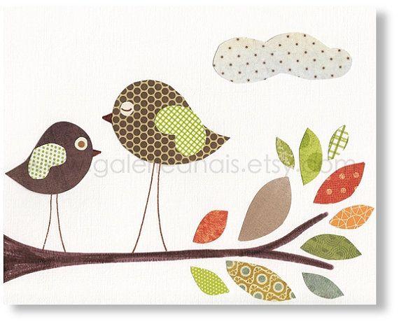 Vivaio neutro genere - vivaio parete arte - baby nursery - arte - arredamento camera ragazzi - uccelli vivaio - autunno stampa da Parigi per...