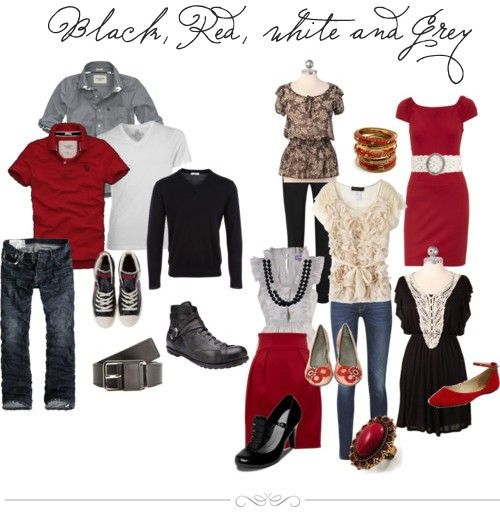 Black, red, white and grey. Great fall color combo! What ...