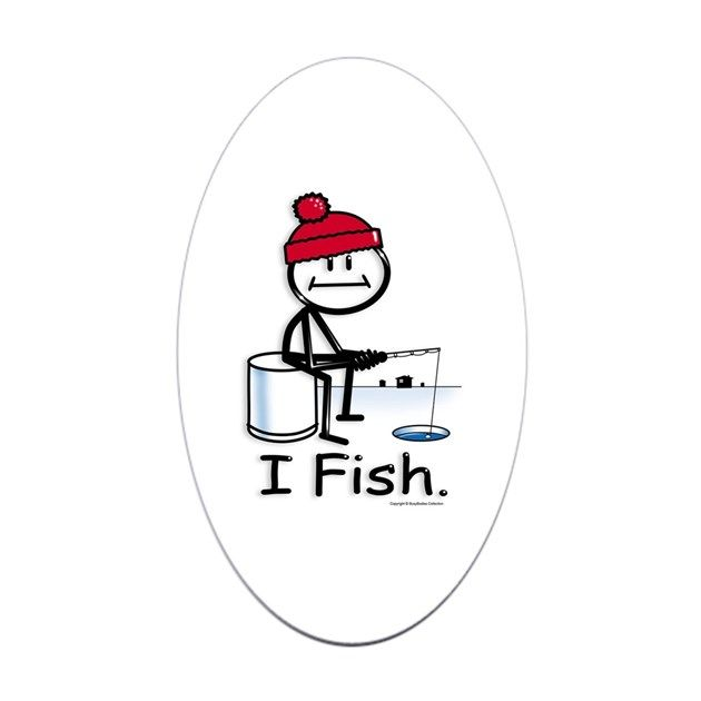 Ice Fishing Stick Figure Sticker Oval By Busyartist Stick Figures Fish Bumper Sticker Funny Bumper Stickers