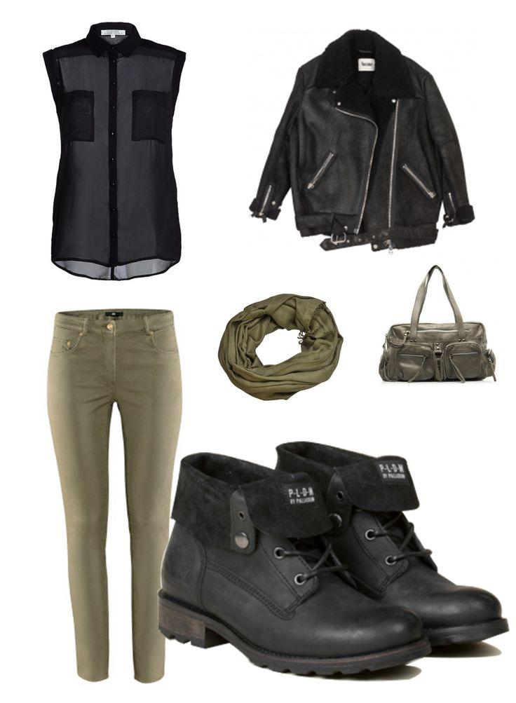 Une tenue parfaite pour allez avec nos ULMIN. Jean kaki, chemisier noir, bomber noir et des accessoires kaki pour habiller le tout.   Soyez belle en PLDM. #outfit #ootd