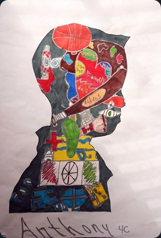 Archimbaldo Art lesson - draw silhouette and Modge Podge magazine clippings or draw inside