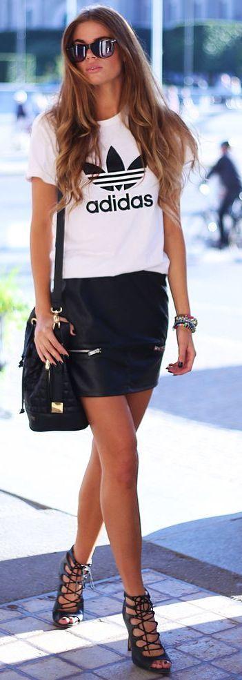 Josefin Ekstrom White Adidas Tee On Black Leather Skirt Fall Street Style Inspo