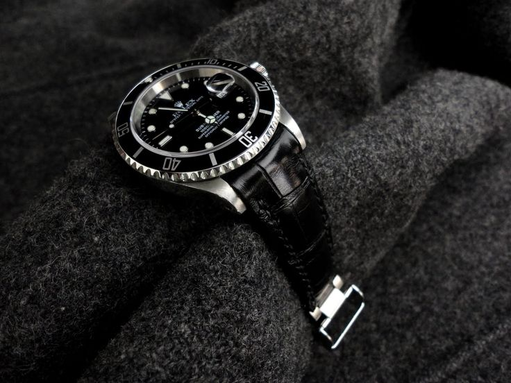Dangerous9straps - Watch of the Week- Vintage Rolex 16610 on Swiss Hides Ebony Alligator with TCLS and bracelet claps Fit