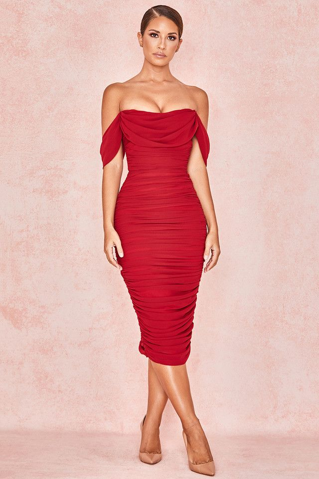 Clothing : Bodycon Dresses : 'Carlotta' Wine Ruched Draped Chiffon Dress