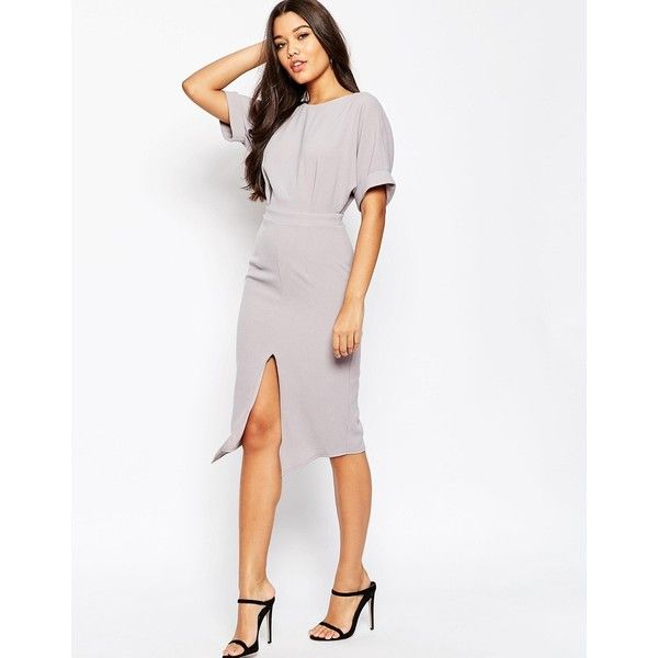 ASOS Wiggle Dress with Split Front (31.310 CRC) ❤ liked on Polyvore featuring dresses, grey, zipper dress, gray cocktail dress, asos dresses, asos cocktail dresses and pencil dress