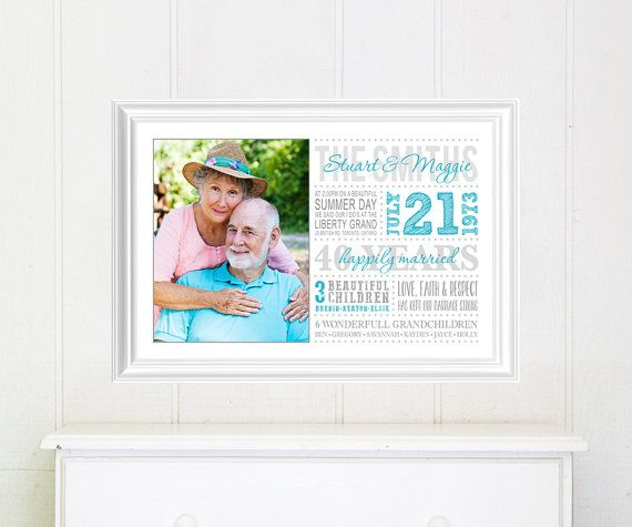 Anniversary Gift, Golden Anniversary, Gift idea by SugarPickleDesigns