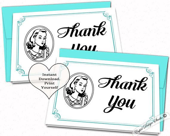 Retro bridal shower printable thank you cards Retro housewife