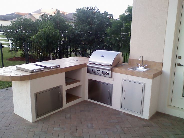 Support Outdoor Kitchen Grill Island With Built In Grill And Two Side