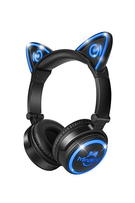 MindKoo Unicat MH-6 Kids Headphones,Cat Ear Bluetooth V4.2 Headsets On-Ear Earphones wtih Mic,(Patented Exclusive Design)with LED Flashing Glowing Cosplay Fancy Foldable Gaming Headsets - Black