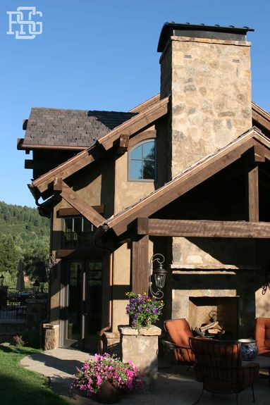 Robert G Sinclair - Architect - Aspen - Cottage - Craftsman - Rustic - Patio - Neutrals - Wood Paneling - Exposed Brick - Chimney - Shingled Roof - Lounge - Outdoor Room - Upholstered Chair