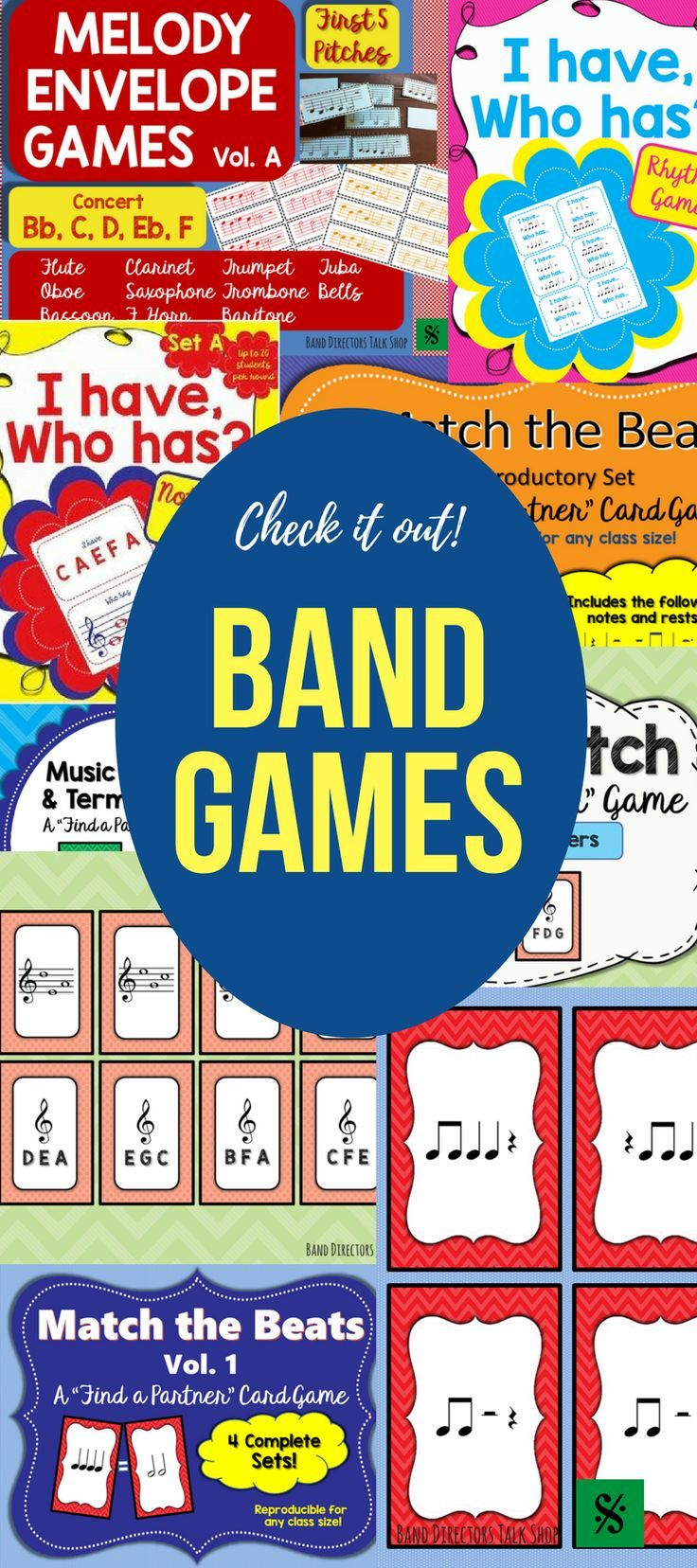 "$4 Note Match beginning band game!  Visit ""Band Directors Talk Shop"" on Teachers Pay Teachers for band lesson plans, band games, band activities, beginning band ideas, band bulletin board sets, rhythm games, note name games, music word walls, practice reports, rehearsal techniques, woodwind, brass and percussion instrument care, band teaching strategies, motivational quotes and more!"
