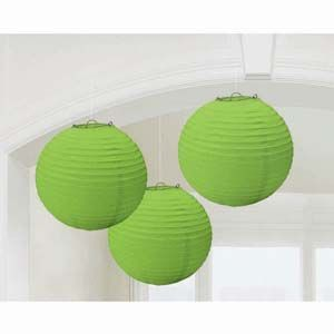 A24055/53 - Lanterns Round - Pack of 3 Lanterns Lime Green Round (24cm Diameter) Paper - Pack of 3 Please note: approx. 14 day delivery time.