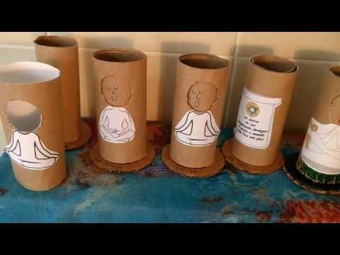 Meditando com a gurizada: Boneco de rolo papel higiênico para meditar