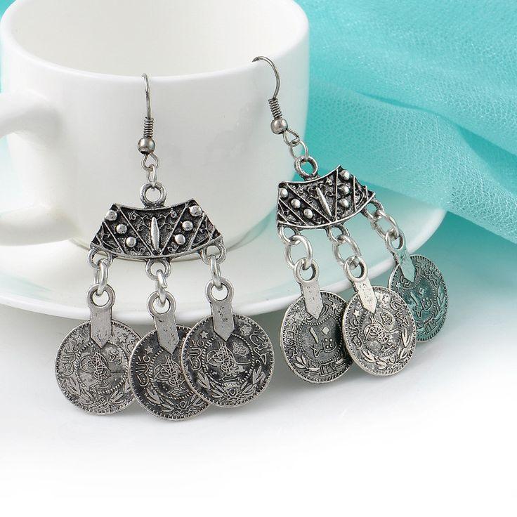 $8 Classic Bohemian Silver Coined Drop Earrings