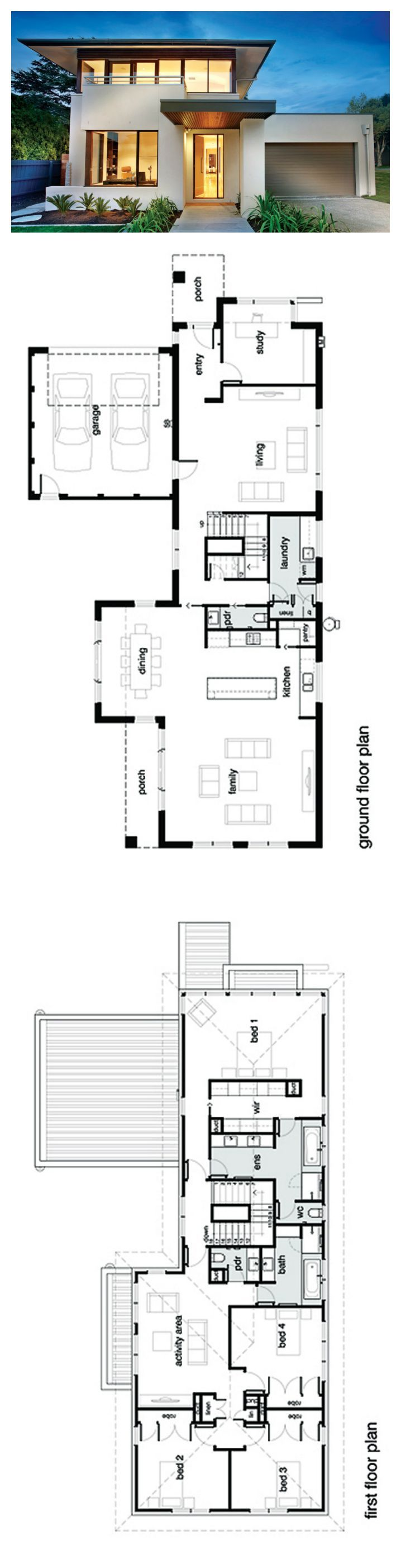 Best 25 modern house plans ideas on pinterest modern for Two storey house design with floor plan