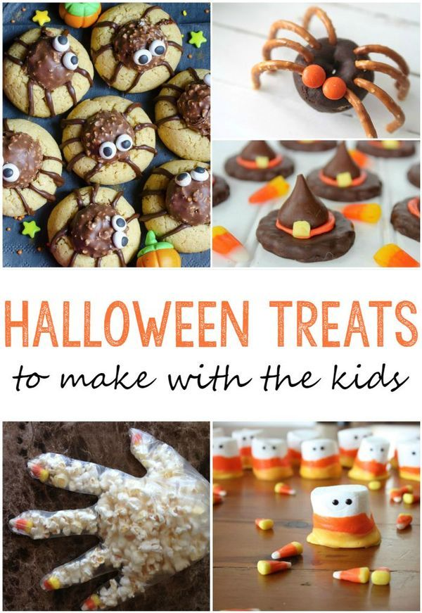25 cute Halloween treats to make with your kids! So many great ideas for Halloween food and snacks your kids will love. These recipes would also be perfect for a Halloween party!