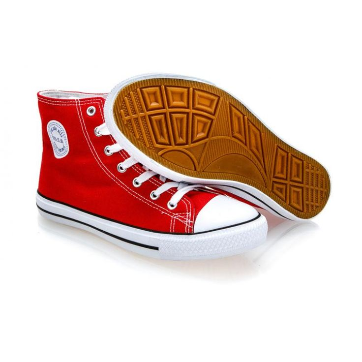 Pánske červené členkové plátené topánky (tenisky) MSTR CQ-1401