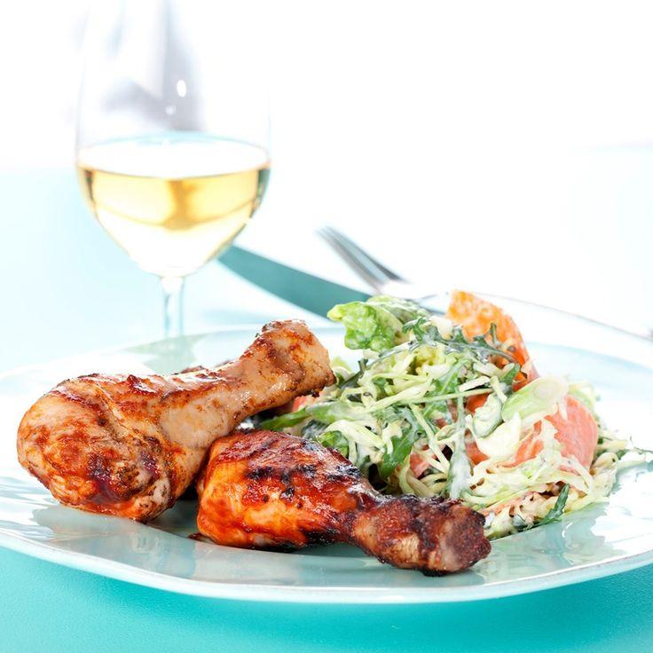 Barbeque kylling med cremet råkost