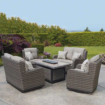 eastport 5 piece fire chat set home in 2019 agio patio furniture rh pinterest com forshaw patio furniture st louis patio furniture repair st louis