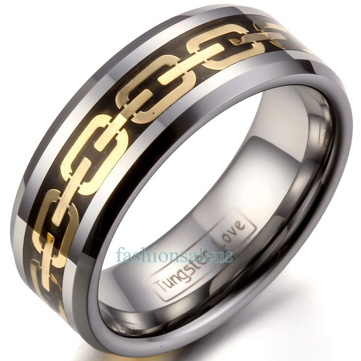 8Mm Comfort Fit Tungsten Carbide Chain Inlaid Polished Ring Men's Wedding Band