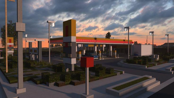 Find Gas Stations >> [Minecraft] Shell gas station by Yazur on DeviantArt   Minecraft houses, Modern minecraft houses ...