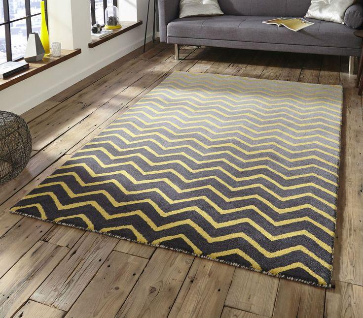 Modern Classroom Rug ~ Modern spectrum grey yellow wool rug cm ft