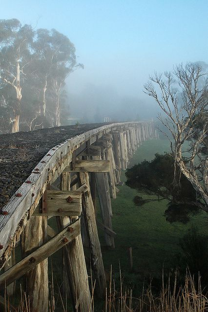 This photo was taken on July 22, 2007 in Meeniyan, Victoria, AU. Meeniyan trestle bridge by simcatz13, via Flickr