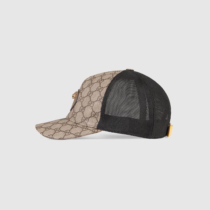 GUCCI GG Supreme baseball hat - brown leather. #gucci #