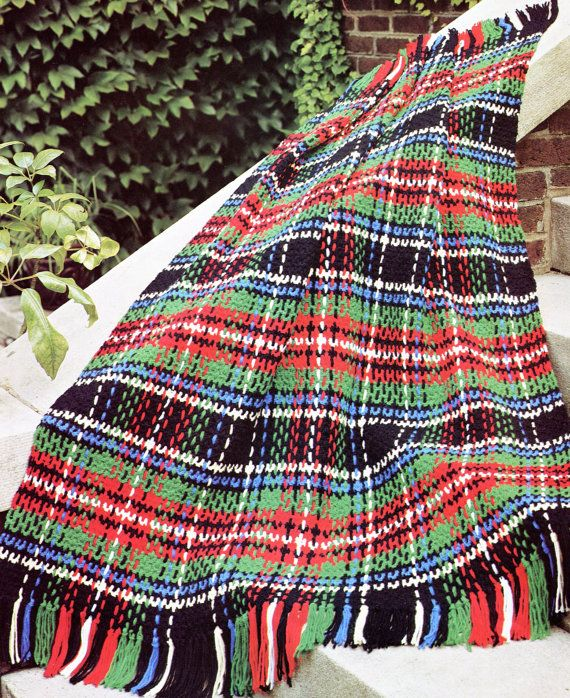 Vintage 1970's Plaid Crochet Afghan PATTERN Tartan-pattern for sale. Good picture