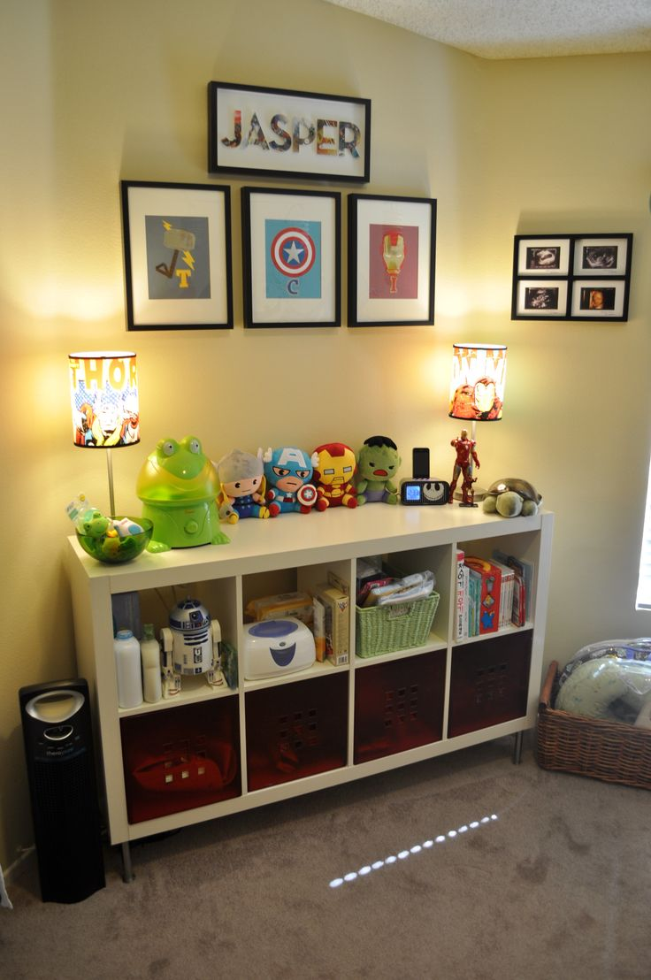 This could be a reading corner for the boys...throw some big comfy pillows on the floor and have storage filled with books