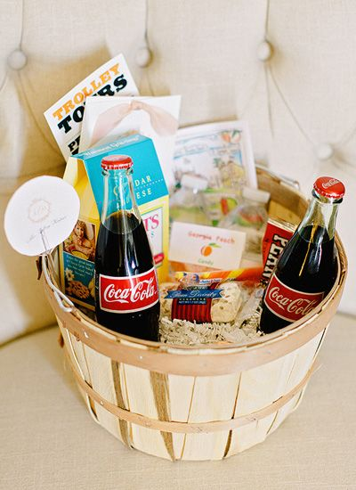 Now THIS is a fun welcome basket! We love how fabulous this natural basket looks with all those vibrerant colors. Tags: Southern Weddings Magazine, Southern wedding, Georgia, Georgia wedding, Atlanta, Wedding welcome gift