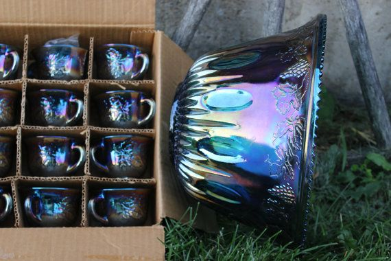 Hey, I found this really awesome Etsy listing at https://www.etsy.com/listing/194085025/vintage-iridescent-blue-carnival-glass