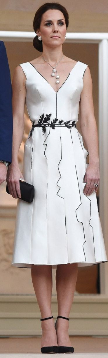Who made Kate Middleton's white dress and black suede ankle strap pumps?