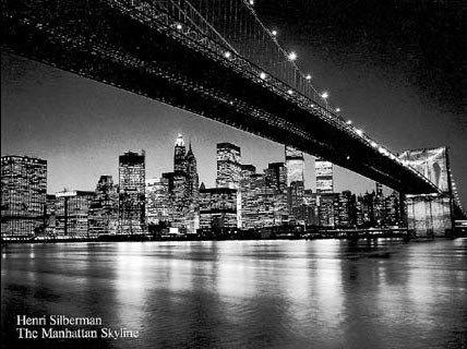 Sparkly in Black and White! Manhattan Skyline, New York City - Henri Silberman