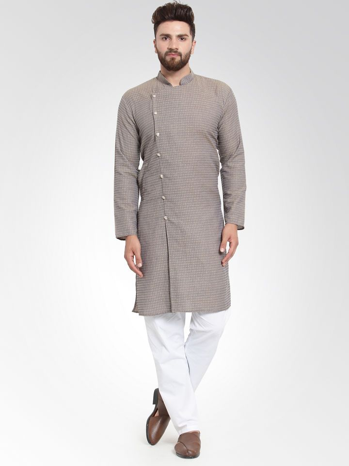 fd8520f6b99 Buy Jompers Men Grey Self Design Kurta With Salwar - Kurta Sets for Men  7739331 | Myntra