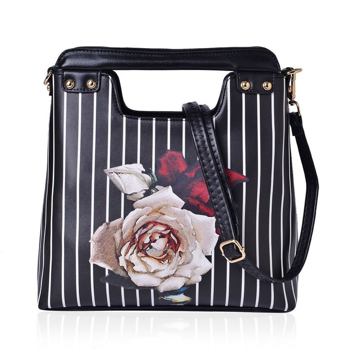 Multi Colour Floral and White Colour Stripe Pattern Black Colour Tote Bag with External Zipper Pocket and Adjustable, Removable Shoulder Strap (Size 30x24x11 Cm) | TJC