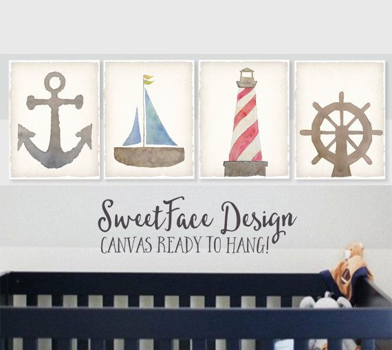 Carteles de lona, conjunto de 4 acuarela arte náutico, decoración de casa de playa, guardería náutica, bebé, muchacho rústico de la pared arte, velero, ancla