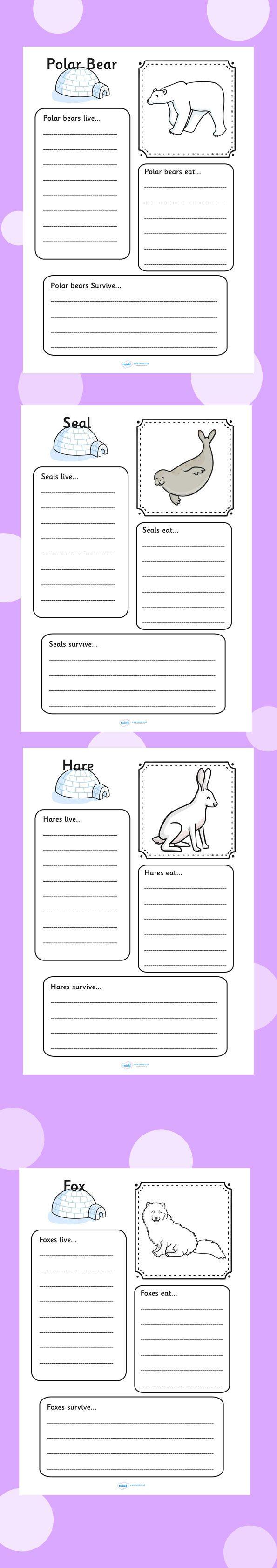 Arctic animal colour and writing worksheets. Polar, ice, bear, fox, wolf, snow.