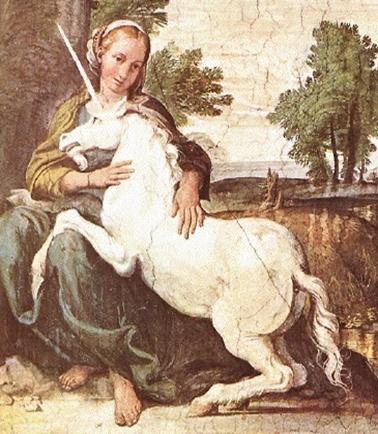 유니콘(Unicorn)-   DOMENICHINO 작. 1602  -유럽 중세의 동물지(動物誌)에 흔히 나오는 전설적인 동물로서 일각수의 한 종류이다. 말과 같은 체구에 이마에는 한 개의 뿔이 있고 뿔의 밑부분은 흰빛이며, 중간은 검고 끝부분은 붉다. 고대의 여행가 쿠테시아스의 기록에 의하면 일각수는 인도산(産)이라고 한다. 또한 중세의 전설에 따르면 일각수는 무적의 힘을 과시하지만, 오직 처녀의 매력 앞에서는 맥을 못 추고 처녀의 무릎을 베개 삼아 잠들어버리는 버릇이 있다. 그래서 일각수를 사로잡을 때는 처녀를 미끼로 삼는다고 한다.
