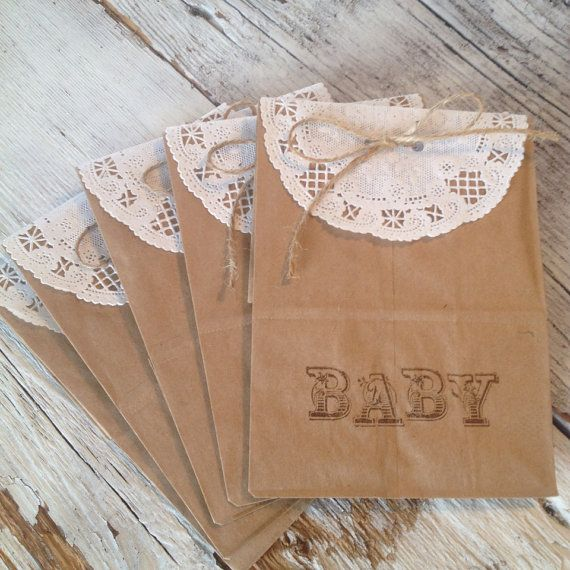 Rustic Chic Baby Shower Favor, Paper Doily Favor, Vintage Baby Shower, Country Baby Shower