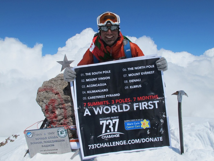 Richard Parks @ the top of Elbrus. 7 summits and 3 Poles in 7 months... amazing!