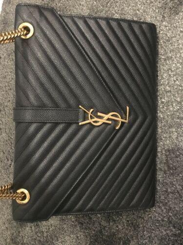 db6926d827b YVES SAINT LAURENT Large Matelasse Chevron Monogram Shopper Black Leather