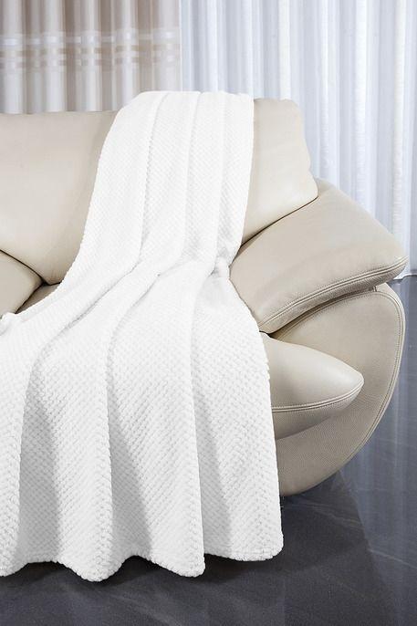Přehoz na gauč bílé barvy