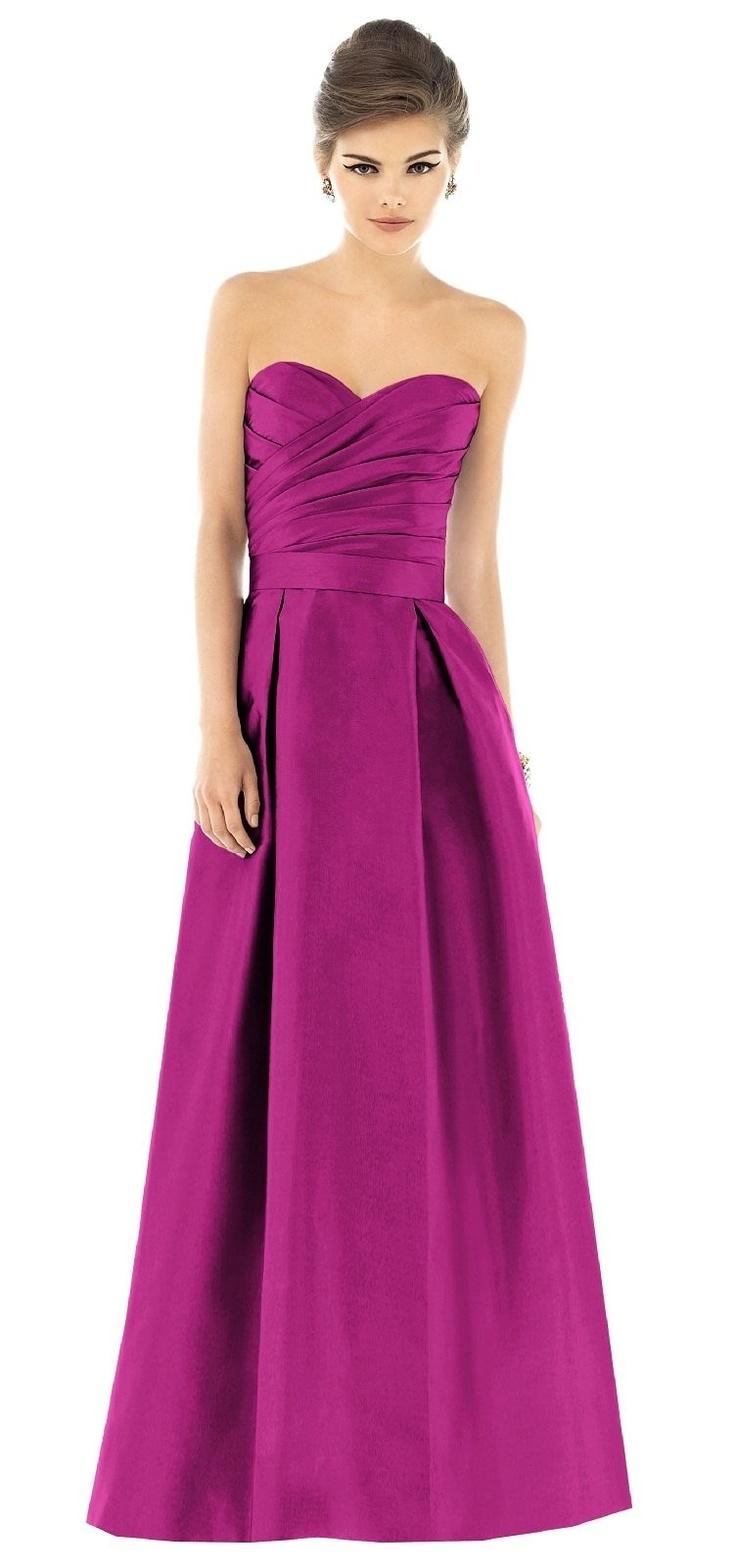 Alfred Sung Magenta Floor Length Bridesmaid Dress, Style # D537, 625 - Watermelon, $220 via Weddington Way