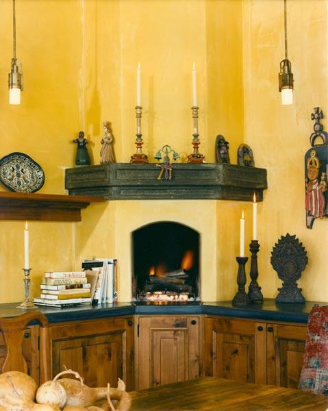 Corner fireplace in kitchen