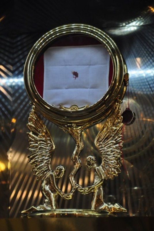 Eucharistic Miracle of Sokółka: 10/12/2008 during Holy Communion a host fell on the floor, a woman mentioned it to Fr. Zdrodowski moved it in a vasculum in order to dissolve. S. Julia Dubowska, was the 1st witness of the Eucharistic miracle. She placed it into the safe with the other chalices & forgot about it. 10/19/2008, she opened the safe & saw the vasculum & the almost dissolved host in it, the host was shiny & lively, a red spot of blood appeared & the water bowl was transparent.
