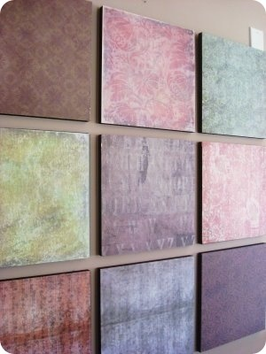 mod podge scrapbook paper on wood or canvas. one of a kind decoration!