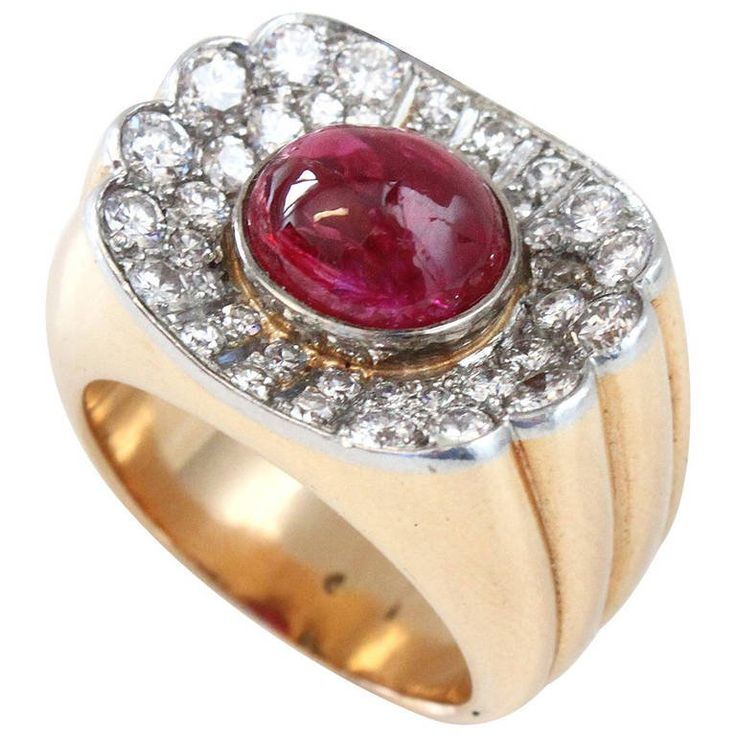 Big Ruby Diamond Gold Retro Ring | From a unique collection of vintage dome rings at https://www.1stdibs.com/jewelry/rings/dome-rings/