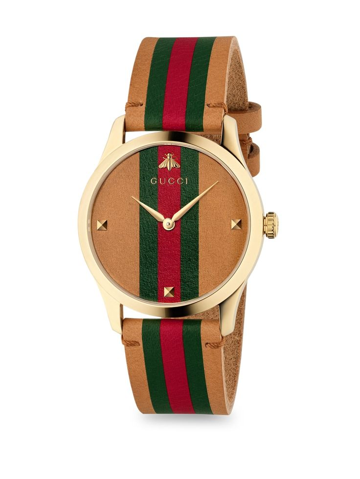 Gucci GTimeless Stripe Leather Strap Watch Brown